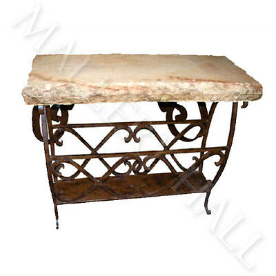 Scrolled Iron Base Magazine Chiseled Marble Top Side Table