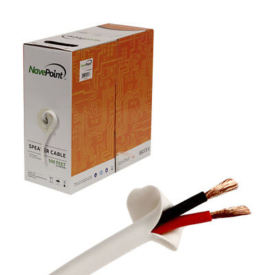 500ft In Wall Audio Speaker Cable Wire CL2 12/2 AWG Gauge 2 Conductor Bulk White