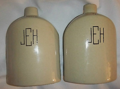 UHL POTTERY Rye and Scotch 3 sided Pottery jugs~Made for Botay- EUC