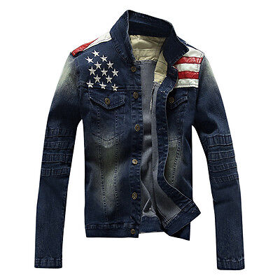 New Mens Denim Jackets US Flag boys fashion Jeans Coats Casual Outerwear GN164