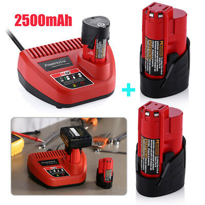 2 x For Milwaukee M12 12V Li-Ion Lithium 2500mAh Battery 48-11-2401 &Charger