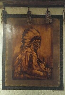 Signed Native American Painting on Wood