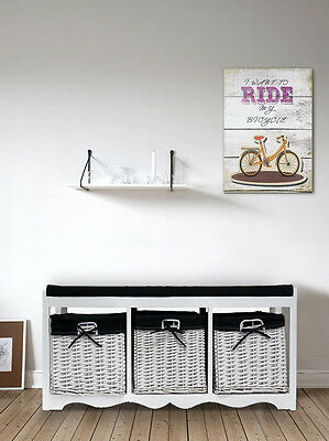 banc coffre de rangement 3 tiroirs en osier bois blanc shabby entr e chambre eur 89 94. Black Bedroom Furniture Sets. Home Design Ideas