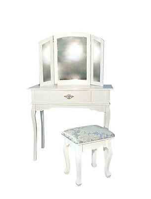 Coiffeuse Table de maquillage 3 Miroirs Refermable Bois Blanc Baroque Chambre