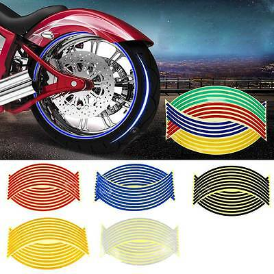 16 Pcs Reflective Motorcycle Motor Car RIM Stripe Wheel Decal Tape Sticker 17''