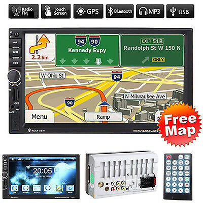 """GPS 7"""" HD Touch Double 2DIN Car Stereo MP5 Player Bluetooth Radio FM/USB/DVR/AUX"""