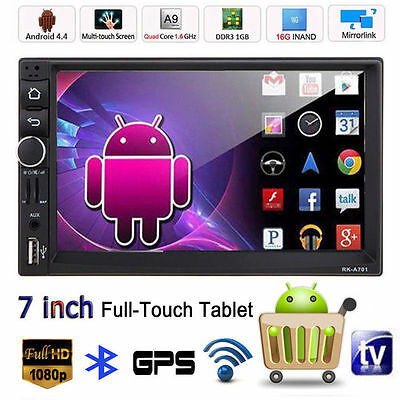 "Android 4.4 GPS 7"" 2 Din Touch Bluetooth Car In-Dash Stereo Radio MP3 MP5 Player"