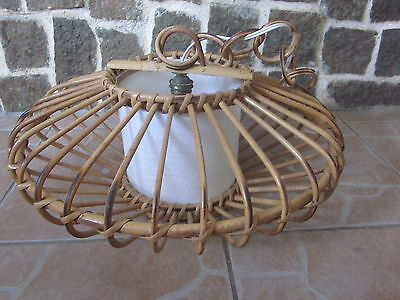 Ancien lustre suspension rotin osier vintage 1950 1960 for Suspension osier design