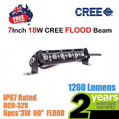 7inch 18W SLIM CREE LED Light Bar Work FLOOD Beam Truck ATV Camp 4WD Car 12V 24V