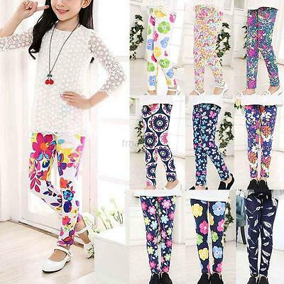 Hot Lovely Baby Kids Girls Leggings Pants Floral Printed Trousers For 1-12 Years