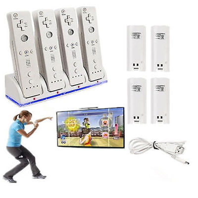 Quad Battery Power Pack White For WII Remote Controller Charger Station Dock AU