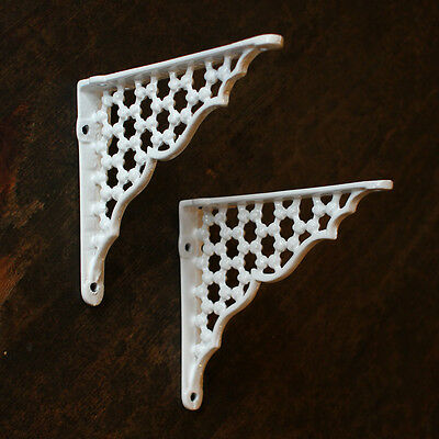 "Pair of 6"" x 5"" SMALL HONEYCOMB ANTIQUE CAST IRON VICTORIAN SHELF BRACKETS WHITE"