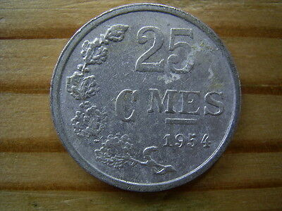1954  Luxembourg 25 Centimes Coin Collectable