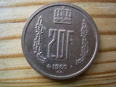 1980  Luxembourg 20  Franc Coin Collectable