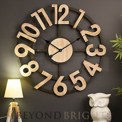 Wall Clock 70cm SPENCER Industrial Rustic Numbers Designer Modern Funky Gift NEW