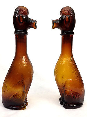 Poodle Brown Glass Decanter Genie Bottle PAIR of Retro Vintage Dog 70s Kitsch x2