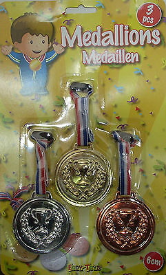 3er Set Kinder Medaillen - Gold/Silber/Bronze - Party - Geburtstag - Sommerfest