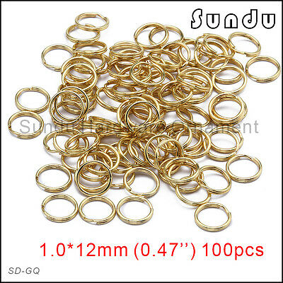 10 100 1000 pcs 12mm Wholesale Gold Plating Color Split Key Ring Double Jump