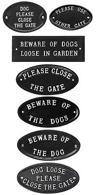 Cast Antique Style Signs Please Close Gate / Beware Of Dog Garden Gate Signs