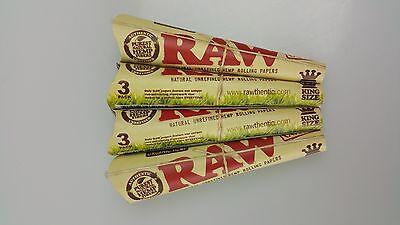 4 Packs of 3 Ea. Classic RAW Rolling Paper Cones Organic Hemp Pre-Rolled King's