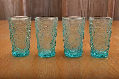 4 Vintage Blue Crackle Drinking Short Glasses