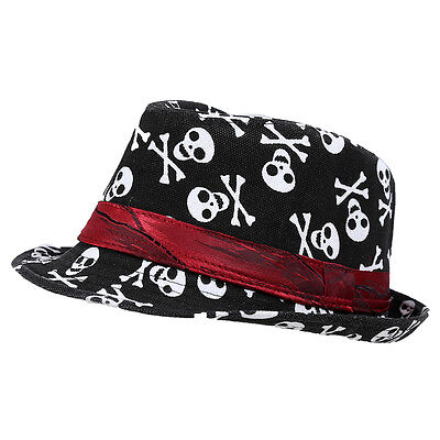 Kids Baby Boys Girls Cap Fedora Hat - Black with Skull Pattern DT