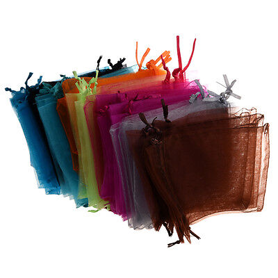 "48 Organza DrawstRing Pouches Gift Bags Assorted Colors 4x5"" DT"
