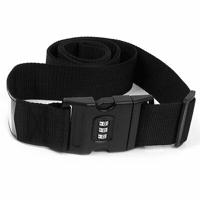 justable Luggage Suitcase Strap Tie Down Travel Secure Lock Black DT