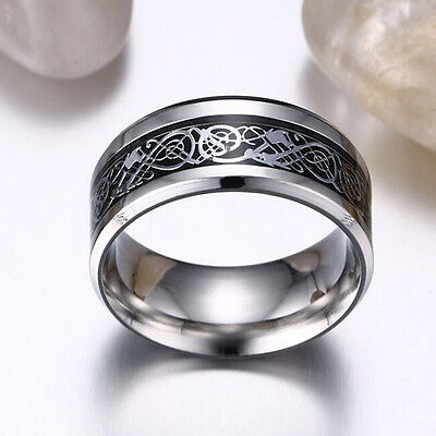 Fashion Men's Silver Celtic Dragon Titanium Stainless Steel Wedding Band Rings a