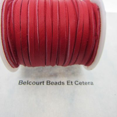 """10' Deer Leather Red Lacing 1/8"""" Wide by 120"""" Long Real Leather Made in USA"""