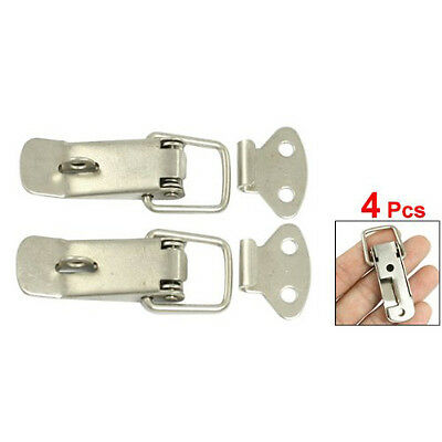 4 Pcs Silver Hardware Cabinet Boxes Spring Loaded Latch Catch Toggle Hasp DT