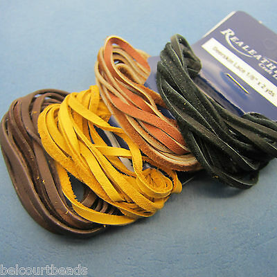 4 Packages of Deer Skin Leather Lace Real Leather 2 Yards 4 Colors