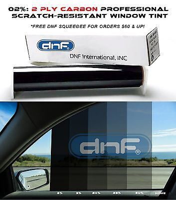 "DNF 2 PLY Carbon 2% 24"" x 100 FT Window Tint Film - LIFETIME WARRANTY GUARANTEE!"