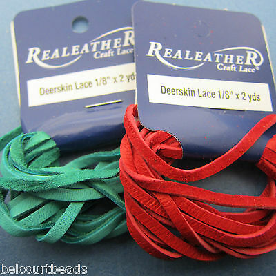 2 Packs Deerskin Leather Lace Real Leather 2 Yards 2 Colors Red and Turquoise