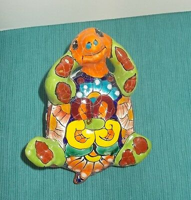 Mexican Talavera Pottery-Hand Painted Turtle on Back-Orange, Blue, Rust & Yellow