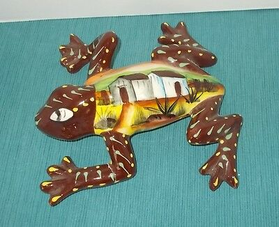 Mexican Talavera Pottery-Brown Frog-Hand Painted-Pueblo-Casitas-Houses on Back