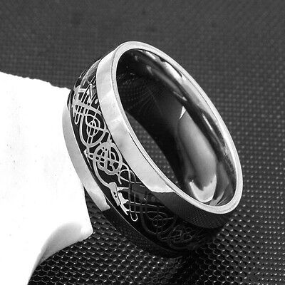 Special Men's Silver Celtic Dragon Titanium Stainless Steel Wedding Band Rings