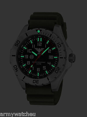 KHS Tactical Watches Army Field Watch C1-Light Date Diver Band Oliv KHS.LANS.DB