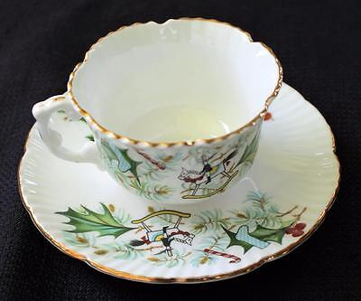 Vintage HAMMERSLEY Bone China England CHRISTMAS HOLLY Set Cup Saucer Plate #6437