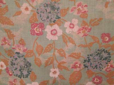 Vintage Fabric Linen Cotton Floral Flowers Blue Sage Green Pink Gold 45x115