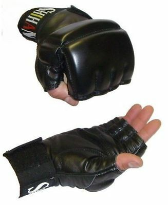 Black MMA Grappling Gloves, Bag Glove Leather Gel Padded for extra protection M