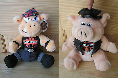 Harley Davidson Motor Cycles Official Products Lot Of 2 Hog Pig Stuffed Animals