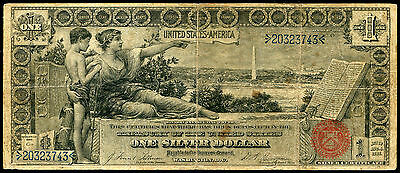 """Fr. 224 1896 $1 One Dollar """"educational"""" Silver Certificate Currency Note"""