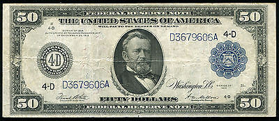 FR. 1039a 1914 $50 FIFTY DOLLARS FRN FEDERAL RESERVE NOTE VERY FINE