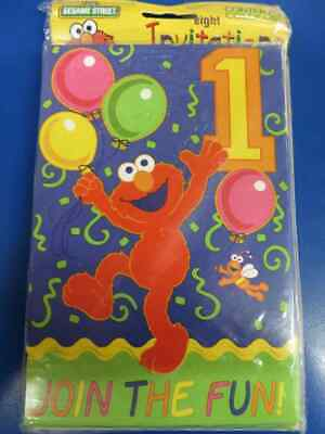 RARE Sesame Street 1st Birthday Elmo Vintage Kids Party Invitations w/Envelopes