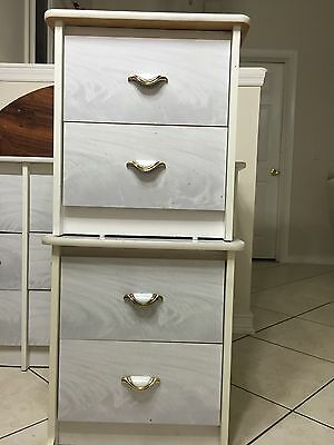 White And Gray Marble 6 Drawer Dresser With Two Matching Nightstand a