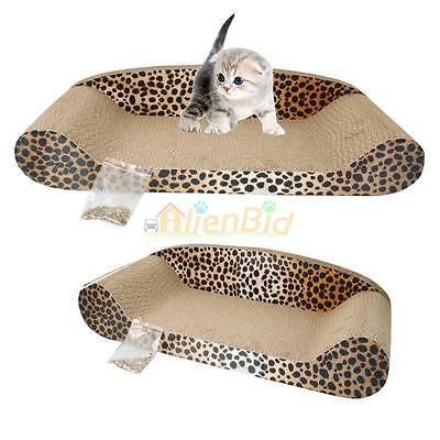 """23"""" Cat Scratching Corrugated Board Pet Sofa Bed Pad Toy Brown"""