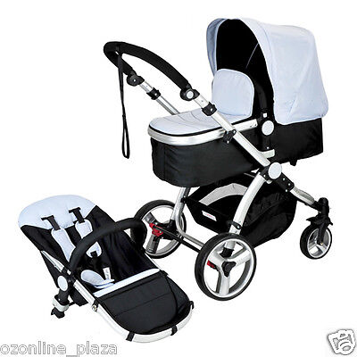 Joy Baby Aluminium Baby Toddler Pram Stroller Jogger with Bassinet -  Silver