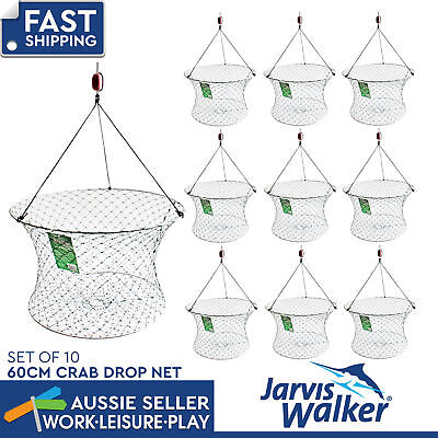 Jarvis Walker Crab Drop Net 60cm Diameter Fishing Camping Gear Pack of 10