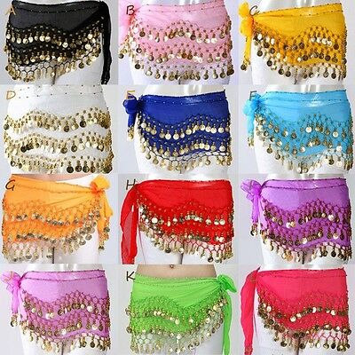 3 Rows Belly Dance Hip Skirt Scarf Wrap Belt Chain with Tone Coins Beads Adult